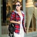 M-XXL 2017 Senhoras Blusas de Verão Dois Bolsos Casual Cotton Hoodies Camisas Xadrez de Algodão Mulheres Blusas Feminina Mulheres Tops 8861