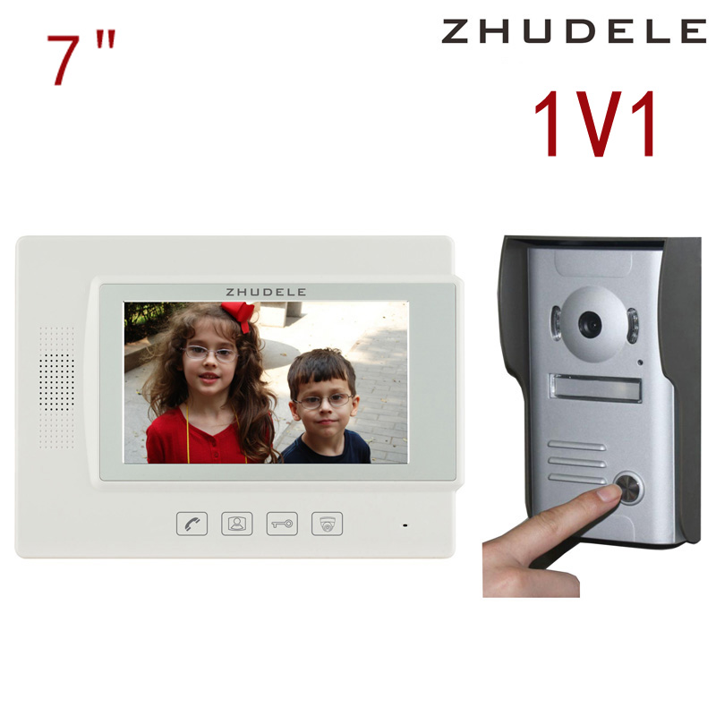 Free shipping! zhudele 7 inch TFT Monitor LCD Color Video Door Phone DoorBell Intercom System touch panel 700TV Line 37M ...