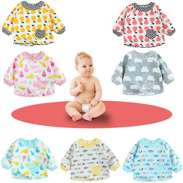 Baby Bibs Cartoon Waterproof Long Sleeve Baby Apron Saliva Towels Infant Cotton Burping Cloth for Children's Feeding