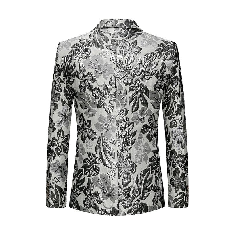 Costume 6xl Impression Slim Casual Taille M 2019 Nouvelle Hommes Veste Arrivée Robe Pleine Fit Mens De Blazer Pour Manteaux Blazers Bal Mode Argent vN08mnw