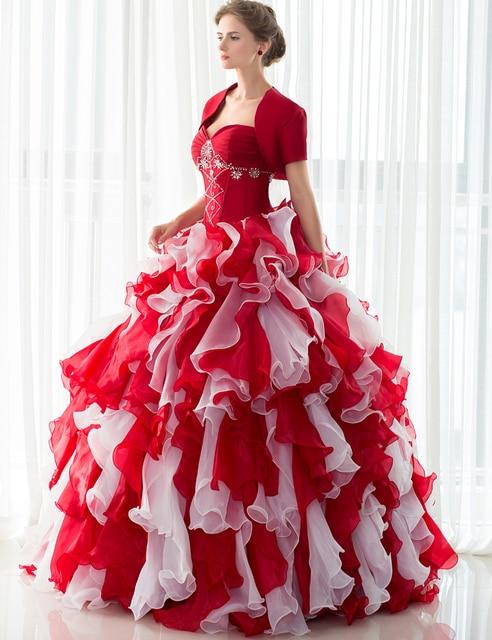 2017 New Arrival Red Vestidos Quinceanera com Jacket vestido fora do Ombro Babados de Organza com Contas da menina Vestidos de Festa Formal 40285