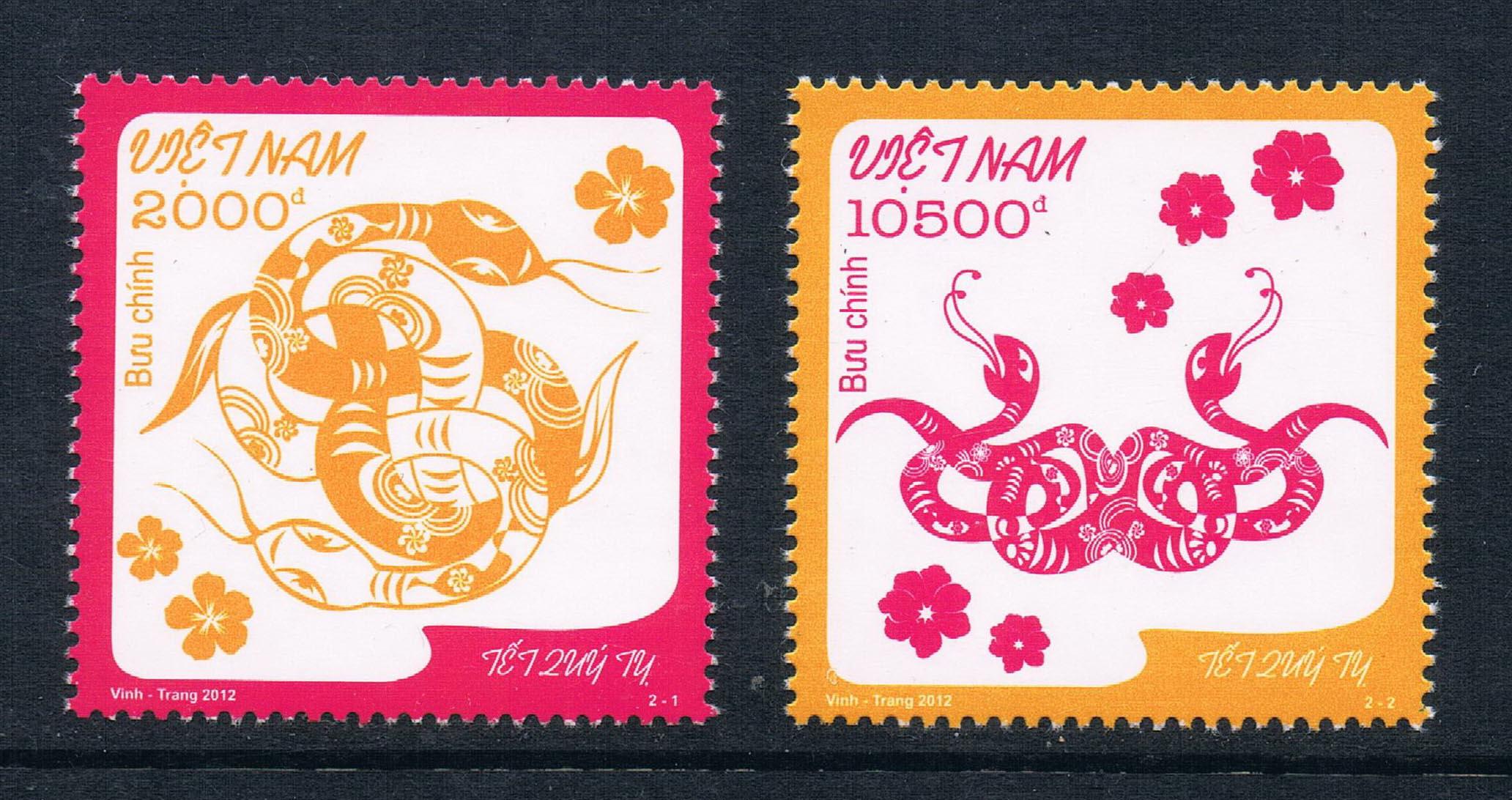 CX0203 Vietnam 2012 Zodiac stamps 2 new 0111 China snake