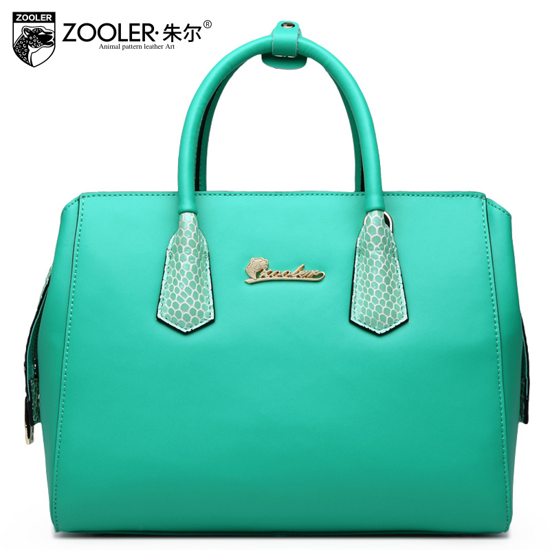 ФОТО ZOOLER New Spring Green Crossbody Handbags For Women Simple Pure color genuine leather Shouler Bag Female Bolsa Feminina Top