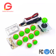 Original Arcade Sanwa Joystick + 10 X Sanwa Push Button + Encoder To Coin Operated Games arcade mame game 30mm sanwa button genuine sanwa joystick pc encoder for mini table top arcade machine black green kits