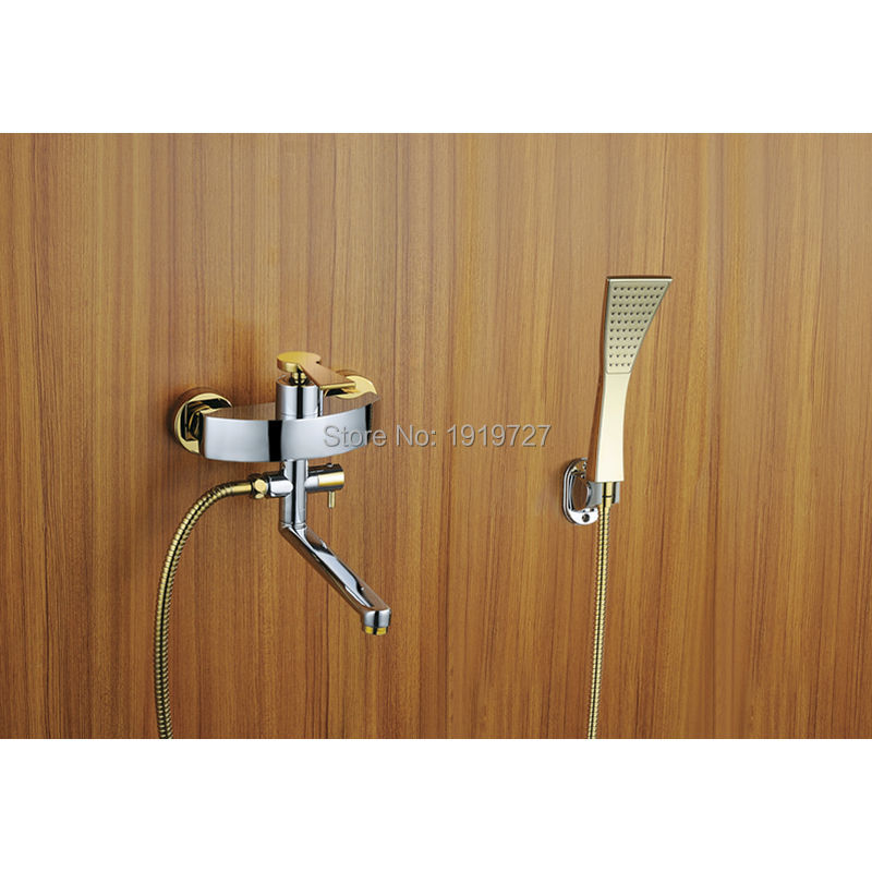 2016 Wholesale 100% Brass Brushed Nickel Or Chrome Or Gold Bathroom Luxury Abs Handheld Shower & Wall Mounted Tub Filler Faucet free shipping stainless steel chrome or black or brushed nickel sliding bar hand shower holder shower head holder sl155