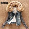 2016 Primavera Básico das Mulheres de Inverno Jaqueta Jeans Feminina para mulheres Buracos Fino com pele outerwear Casaco jaqueta Jeans curto