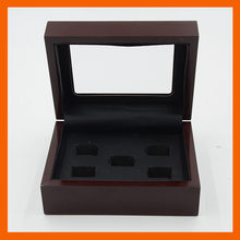 Promotion Clear Top Wooden Boxes 5 Holes Rings Position Championship Ring 5 Holes Rings Boxes
