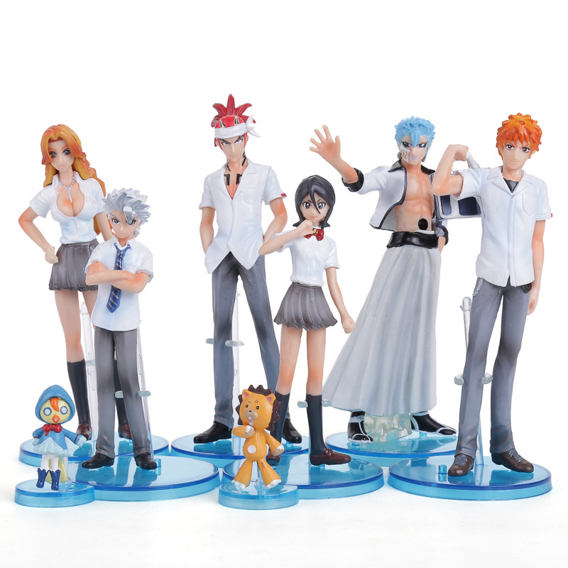Anime Bleach Action Figures Toys Kurosaki Ichigo Kuchiki Rukia Aizen Sousuke Hitsugaya Toushirou 8pcs/set BLFG017 bleach kurosaki ichigo action figure toys japanese anime model pvc action figma toys for anime lover asgift 18cm n105