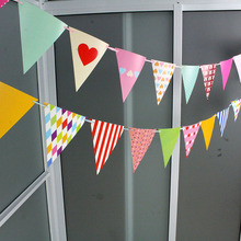 Wholesale 20sets/lot hanging parper Flag for Baby Childrens Birthday Decoration Flags Wedding supplies Home Decor 2.83M