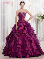 Purple Puffy Cheap Quinceanera Dresses Ball Gown Sweetheart Organza Taffeta Beaded Ruffles Sweet 16 Dresses