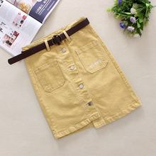 купить 2019 Yellow Jeans Skirts Womens Summer Big Pockets Single Breasted Irregular length Skirts Letter Straight Denim Skirts 26009 дешево