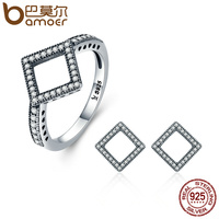 BAMOER Authentic 925 Sterling Silver Jewelry Set Geometric Square Clear CZ Earrings Jewelry Sets Sterling Silver