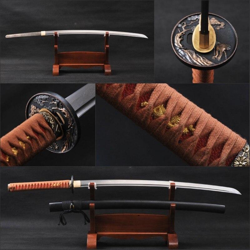 Damas Japonais Épée Samouraï Katana À La Main Plié En Acier Pleine Saveur de Sharp Bataille Prêt Espada Katana Métal Peut Couper Bambou