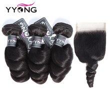YYong-mechones de pelo ondulado suelto con cierre, cabello humano brasileño, 4x4, cierre de encaje con mechones, cabello Remy de Color Natural, 4 unids/lote