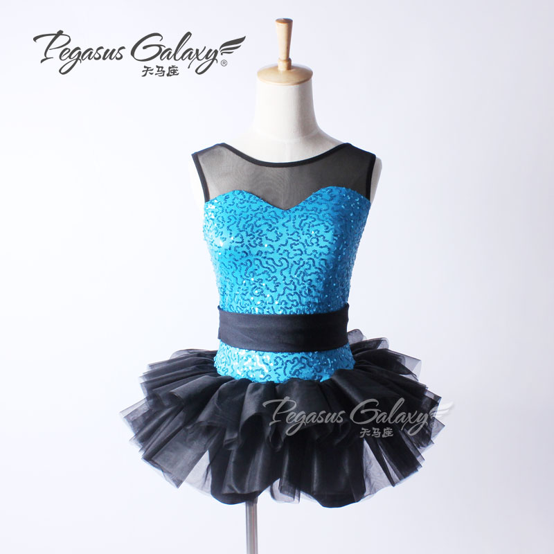 Sleeveless Sequins Black & Blue Ballet Tutu Leotard Costume Dancewear Girls Children Ballet Clothes Women Ballerina Dance Dress
