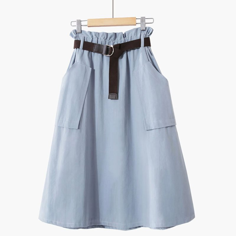 2019 Summer Vintage Skirts Casual Elegant Party Beach Simple Blue Aline High Waist Plain Preppy OL Ladies Korean Female Skirt