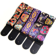 New 5 Colors Vintage Flowers Stripes Acoustic Electric Guitar Strap Woven Embroidery Fabrics Leather Ends