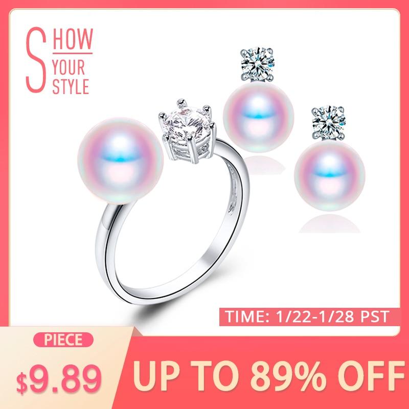 DAIMI natūralios violetinės rožinės baltos juodos perlų auskarai žiedų rinkiniai, natūralūs perlų rinkiniai, vakarėlių papuošalai moterims