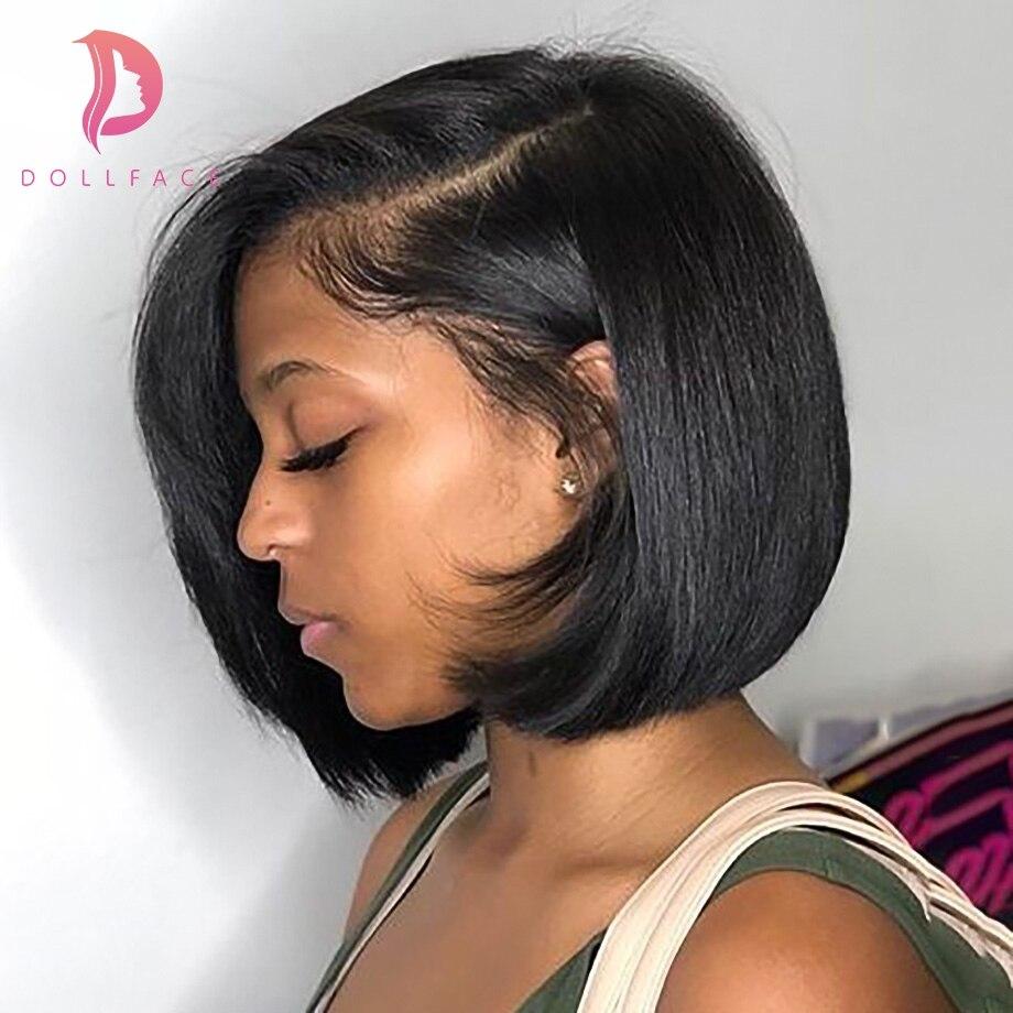Синтетические волосы на кружеве натуральные волосы парики dollface короткие 4x4 боб парики для черный Для женщин натуральный Цвет бразильский В...