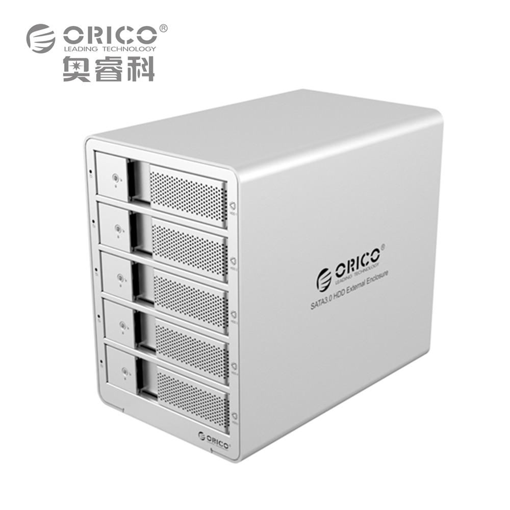 ORICO 9558RU3-SV 5-bay 3.5'' USB3.0 ESATA Raid HDD Enclosure HDD Docking Station Case Support 40TB for Laptop PC (Silver)