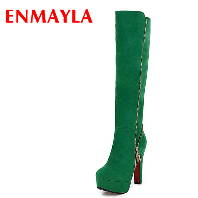 ENMAYLA Sexy Green Shoes Woman High Heels Zippers Winter Boots Platform Shoes Large Size 34-47 Knee-high Boots Round Toe Shoes enmayla ankle boots for women low heels autumn and winter boots shoes woman large size 34 43 round toe motorcycle boots