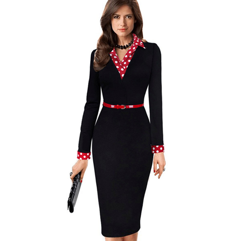 Donne Eleganti Dell'annata Autunno Polka Dot Turn Down Collare Con Cintura wear al lavoro d'ufficio casual manica lunga del fodero matita dress EB334