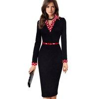Mulheres Elegantes Do Vintage Polka Dot Outono Turn Down Collar Belted vestir para trabalhar escritório casual manga comprida bainha lápis dress EB334