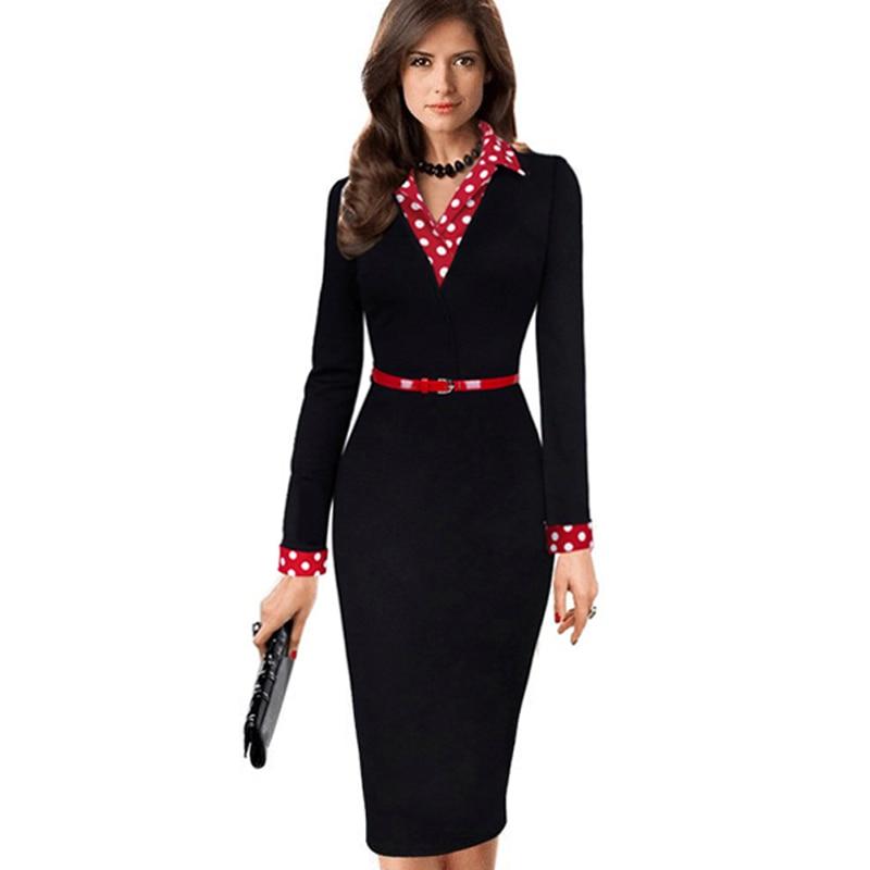 Frauen Elegante Vintage Herbst Polka Dot Umlegekragen Belted Wear Zu Arbeiten Büro Lässig Langarm Etuikleid EB334