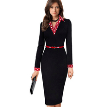 Women Elegant Vintage Autumn Polka Dot Turn Down Collar  Belted Wear To Work Office Casual Long Sleeve Sheath Pencil Dress EB334