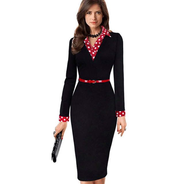 Women Elegant Vintage Autumn Polka Dot Turn Down Collar  Belted Wear To Work Office Casual Long Sleeve Sheath Pencil Dress EB334