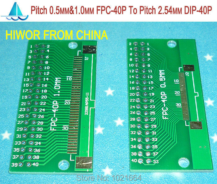 10pcs/lot Pitch 0.5MM & 1.0MM FPC-40P 40P FPC To Pitch 2.54MM DIP40 FPC Adapter To DIP PCB Pinboard SMD Converter