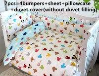 ¡Promoción! 6/7 piezas de dibujos animados Super Softr Bebé Ropa de cama conjunto de ropa de cama de bebé, funda de edredón, 120*60/120*70 cm