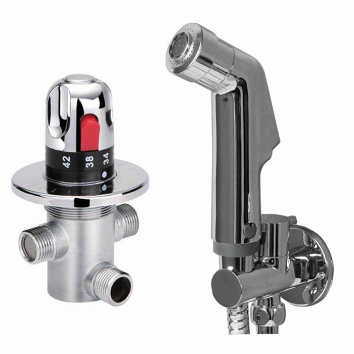 Thermostatic Mixing Valve & Staianless Steel Shattaf Bidet Sprayer Shower Set Spray Douche kit Temperature Bd122 hand bidet spray bathroom thermostatic mixer valve handheld shower bidet sprayer douche kit set ducha higienica