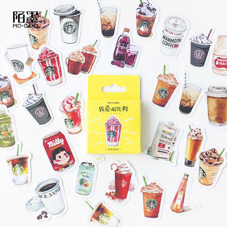 46PCS/box Cute I Love Drinks Diary Paper Lable Sealing Stickers Crafts And Scrapbooking Decorative Lifelog DIY Stationery