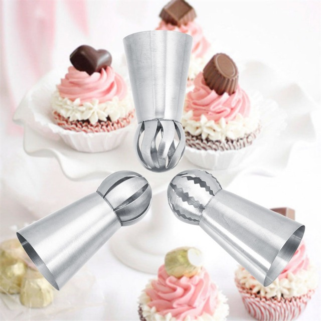 3Pcs/Set Russian Flower Icing Piping Nozzles Tips Cake Decoration Tools Kitchen Pastry Cupcake Baking Pastry Tools