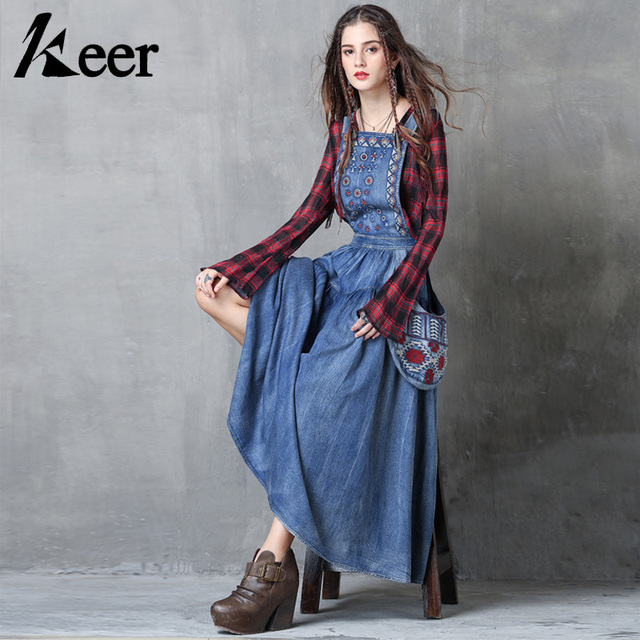e5d5485384b Keer Qiaowa Sleeveless Long Denim Maxi Dress Women High Quality Summer  Embroidery Jean Dresses Vintage Overall Suspenders