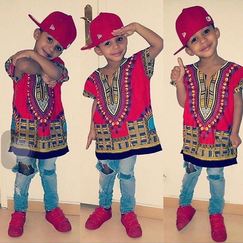 Wholesale Kids 2019 Child New Fashion Design Traditional African Clothing Print Dashiki T-shirt For Boys and Girls