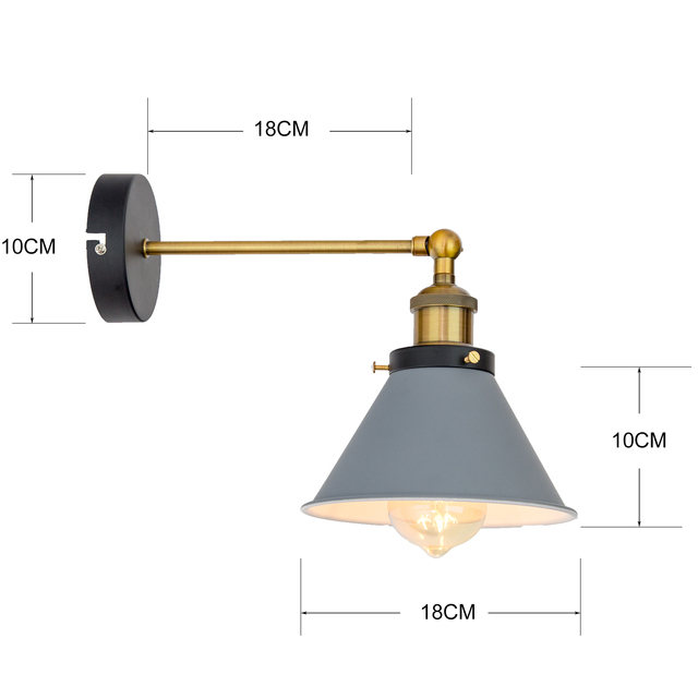 Retro Bedroom Wall Lamp with Conical Lampshade