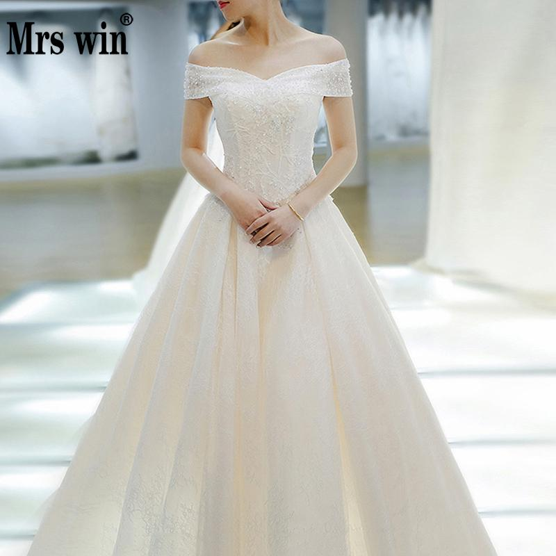 Wedding Dress 2020 Mrs Win The Bridal Elegant Boat Neck Sweep Train Ball Gown Princess Lace Vintage Plus Size Wedding Dresses F