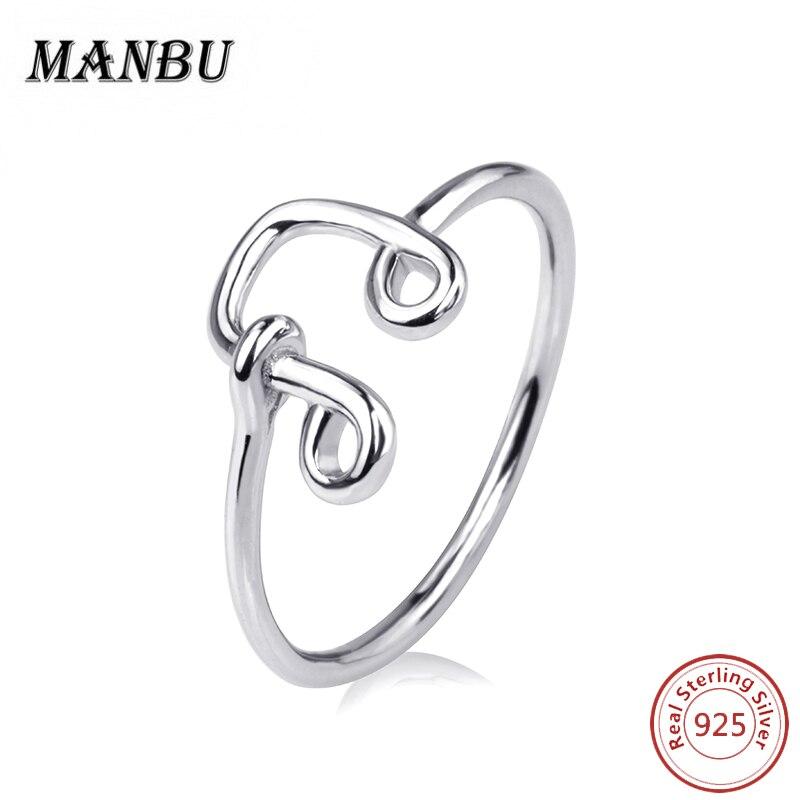 MANBU 3D Music Notes Shape Rings For Women 925 Sterling silver Engagement Wedding Rings Jewelry Female Finger Rings Gift