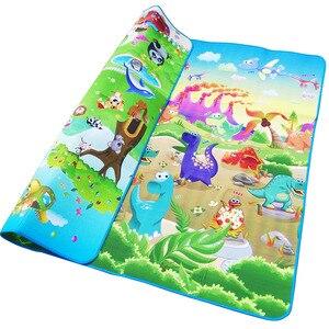 Image 3 - Alfombra de juego para gatear para bebés, 2x1,8 metros, letras de fruta de doble cara y juguetes para bebés de granja feliz