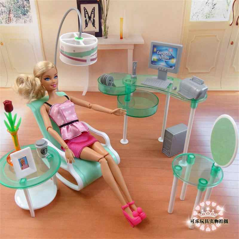 For Barbie Doll Furniture Accessories Toy Book room Computer Desk Chair Dining Table Kitchen Bedroom Wardrobe Gift Girl DIY