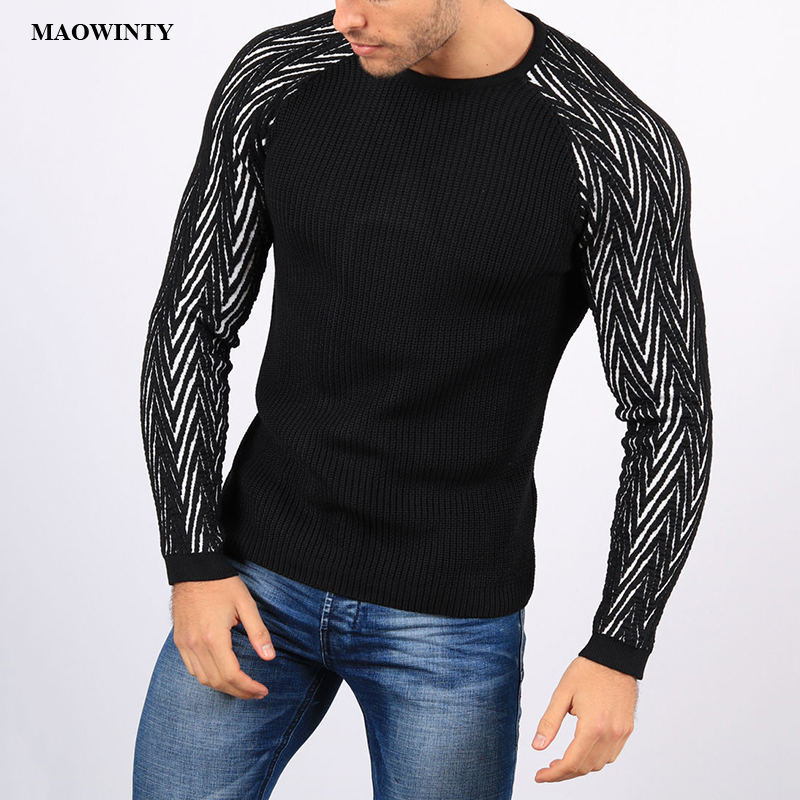 Sweater Men Pullovers Knitwear Slim-Fit Patchwork Male Autumn Striped Man Winter Casual