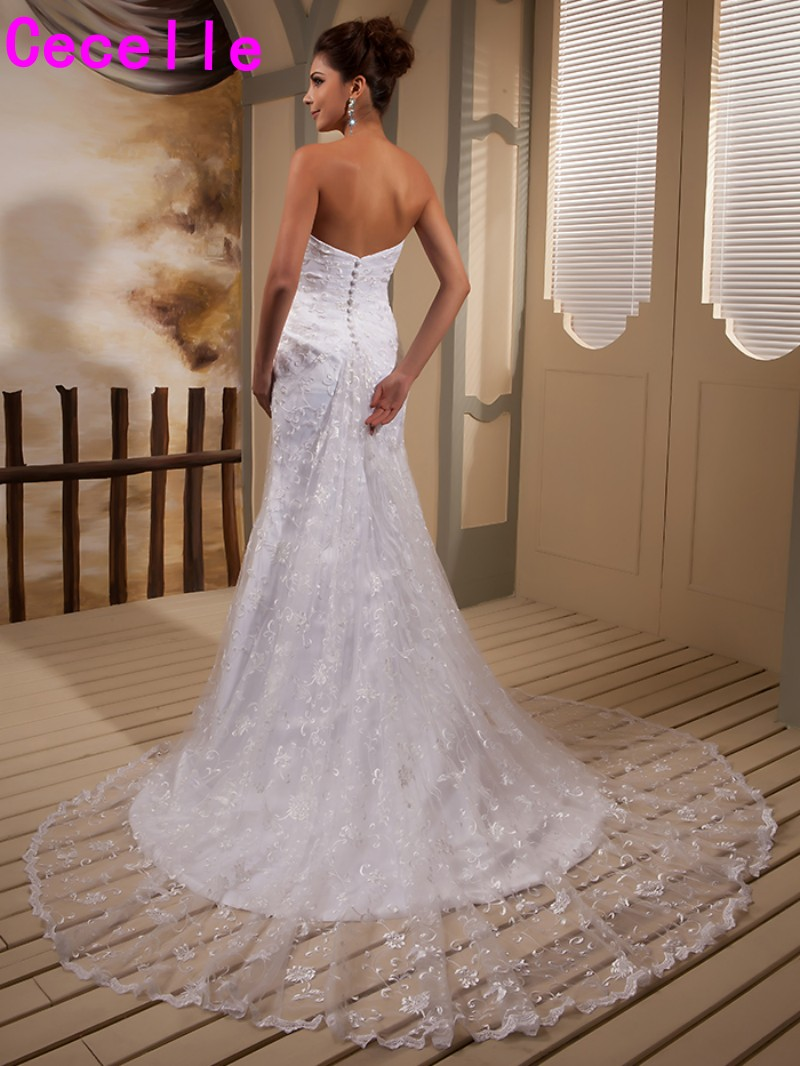 White Mermaid Long Vintage Lace Wedding Dresses Sweetheat Country ...