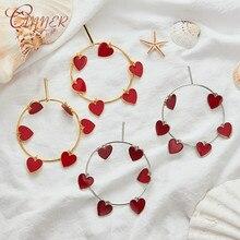 CANNER 2019 New Fashion Gold Drop Earrings for Women Heart Statement Big Geometric Metal Earings Womens Hanging Earring Jewelry