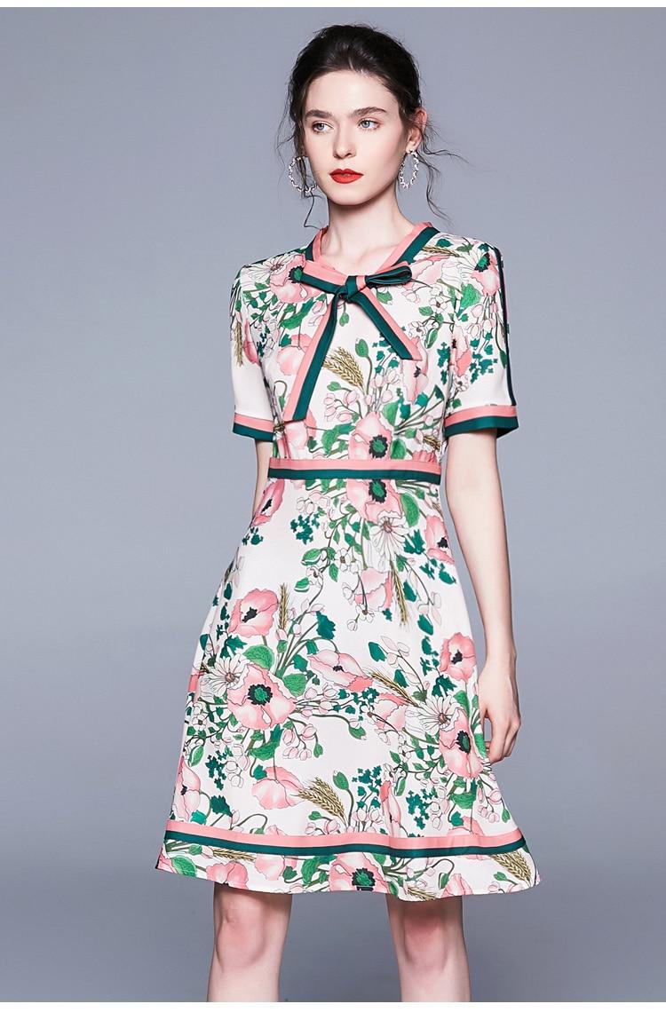 Vintage Elegant Long Sleeve Belted Collar Floral Print Dress 1