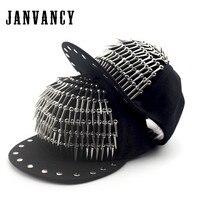 Janvancy Steampunk Hoed Hiphop Katten voor Mannen Vrouwen Klinknagel Baseball Cap Bone Snapback Zwart Ontwerp Toont/party Novelty