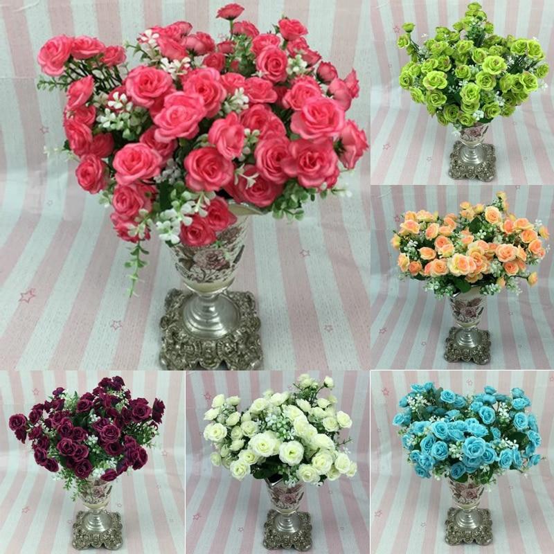 1 ramo 15 cabeza artificial flores color de rosa de la alta calidad colorida flo