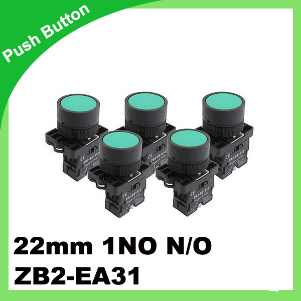 5 x 22mm 1 NO N/O Green Sign Momentary Push Button Switch 600V 10A ZB2-EA31