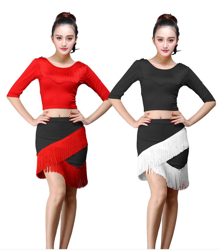 New Fashion Black Women's Skirt Latin Dance Skirt Dance Clothing Tassel Fringe Salsa Tango Skirt 9 Colors